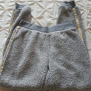 NWOT Gray fuzzy, gold sequin lined pajama bottoms